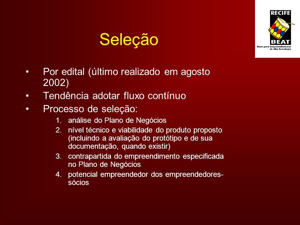 Seleção Por edital (último realizado em agosto 2002)