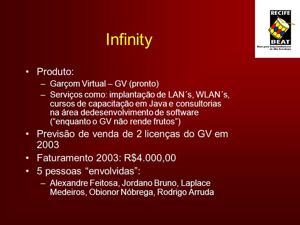 Infinity Produto: Previsão de venda de 2 licenças do GV em 2003