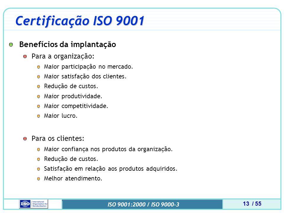 Certificação ISO 9001 Benefícios da implantação Para a organização: