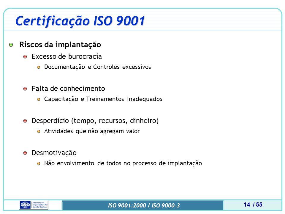 Certificação ISO 9001 Riscos da implantação Excesso de burocracia