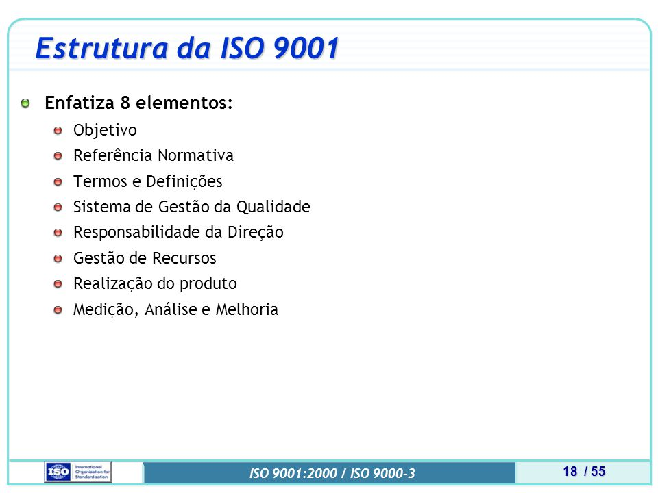 Estrutura da ISO 9001 Enfatiza 8 elementos: Objetivo