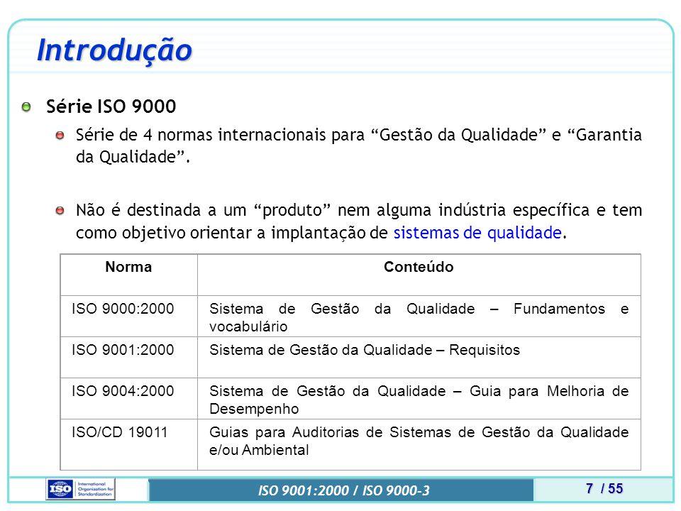Introdução Série ISO 9000. Série de 4 normas internacionais para Gestão da Qualidade e Garantia da Qualidade .