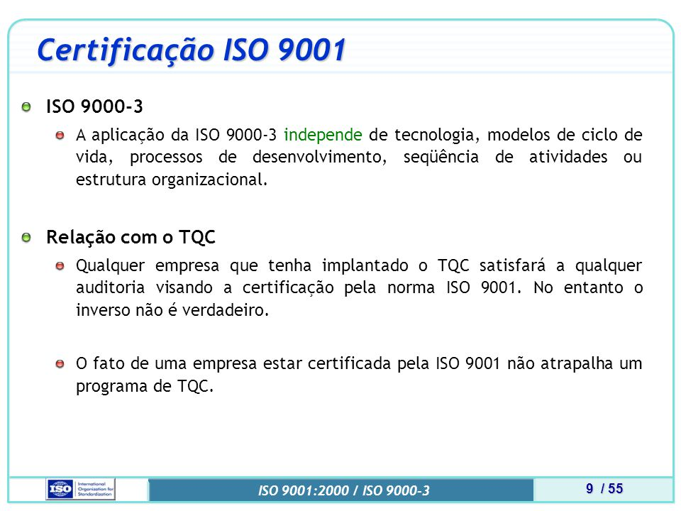 Certificação ISO 9001 ISO 9000-3 Relação com o TQC