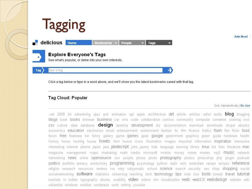 Tagging Palavras chaves Organização Delicious BBC
