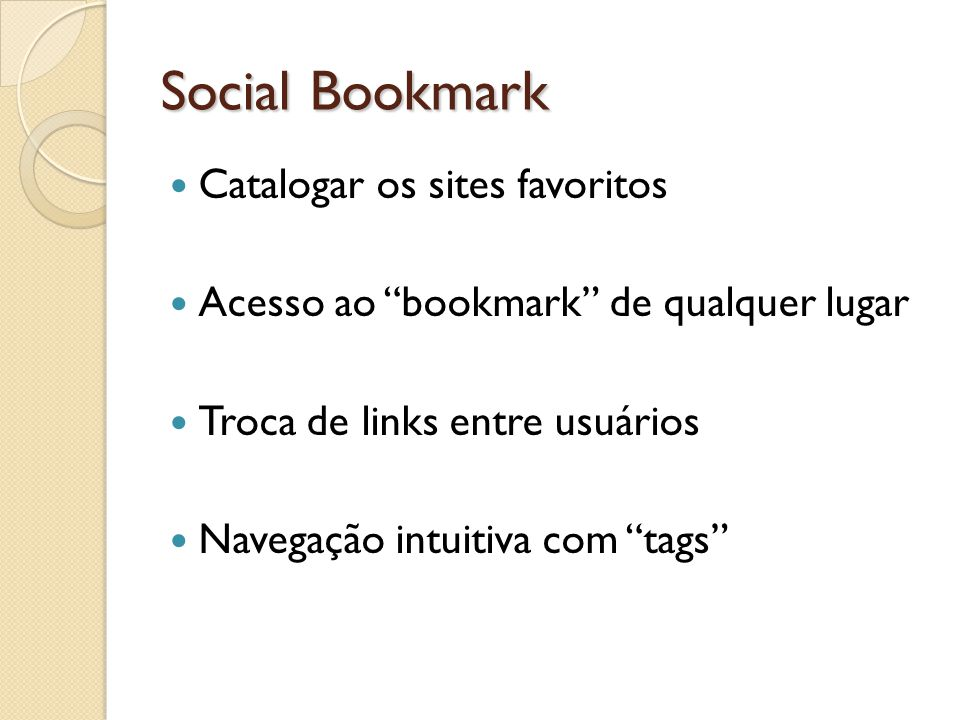 Social Bookmark Catalogar os sites favoritos