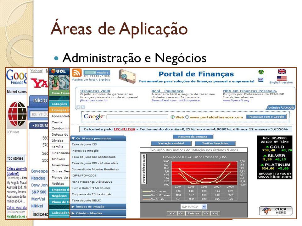 Áreas de Aplicação Administração e Negócios