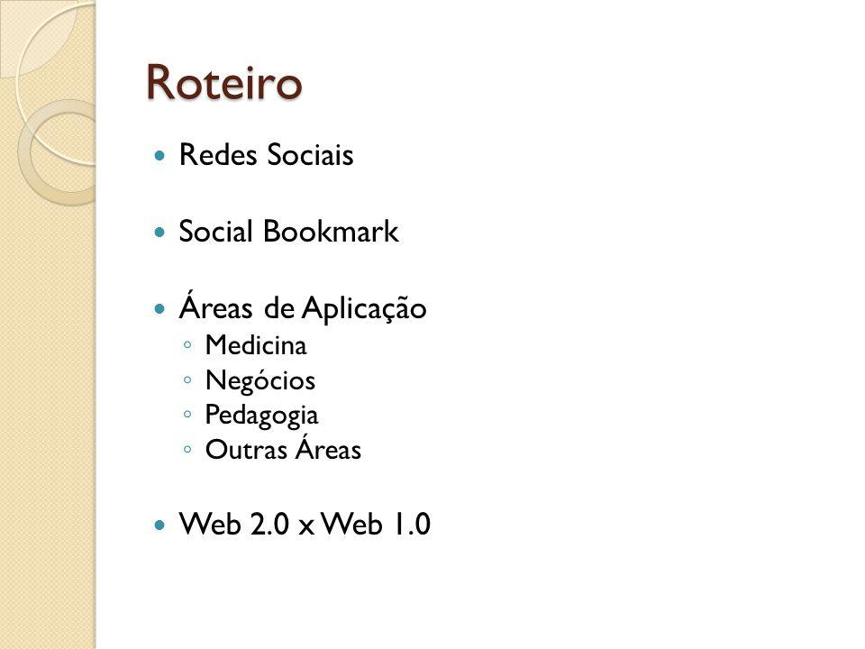 Roteiro Redes Sociais Social Bookmark Áreas de Aplicação