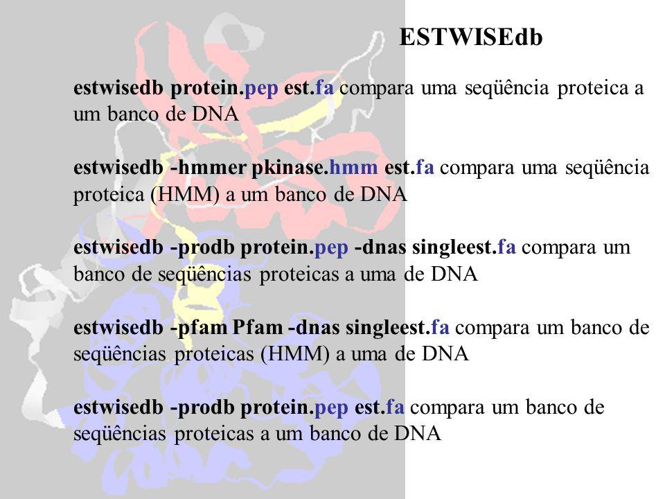 ESTWISEdb estwisedb protein.pep est.fa compara uma seqüência proteica a um banco de DNA.