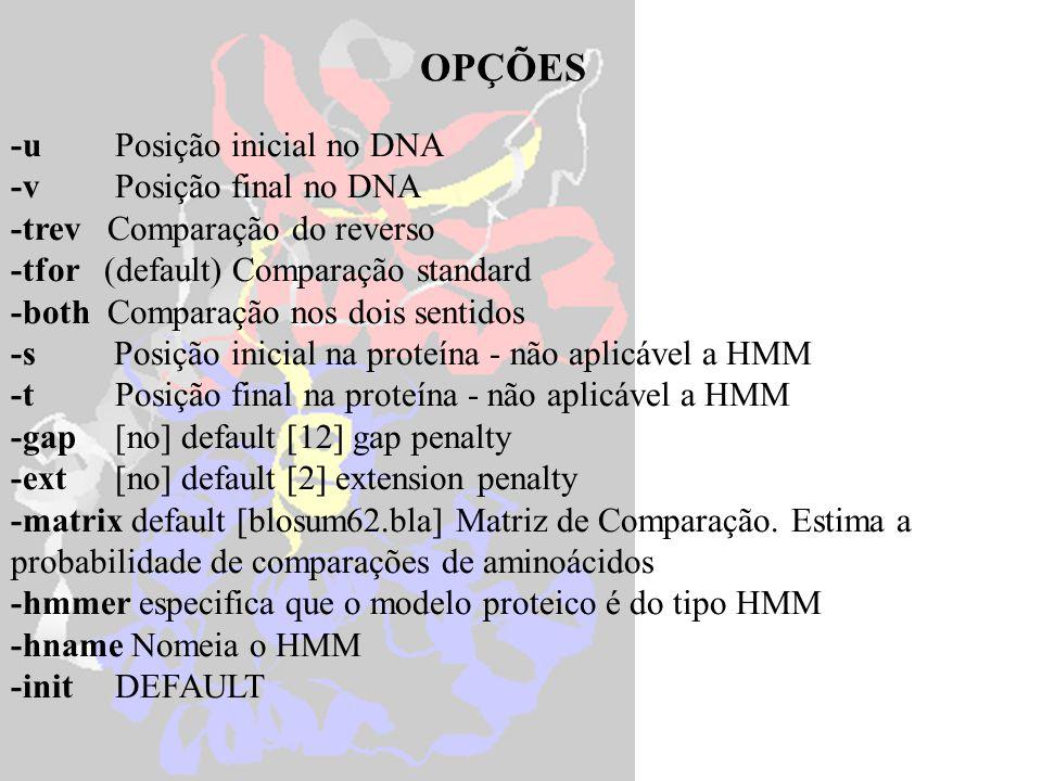 OPÇÕES -u Posição inicial no DNA -v Posição final no DNA