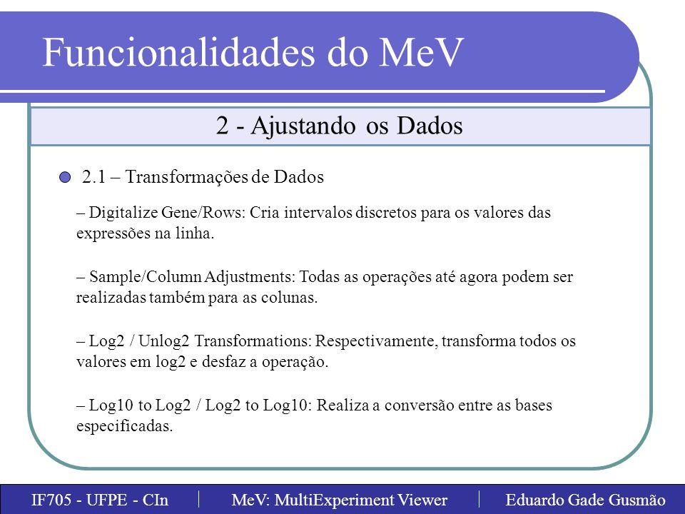 Funcionalidades do MeV