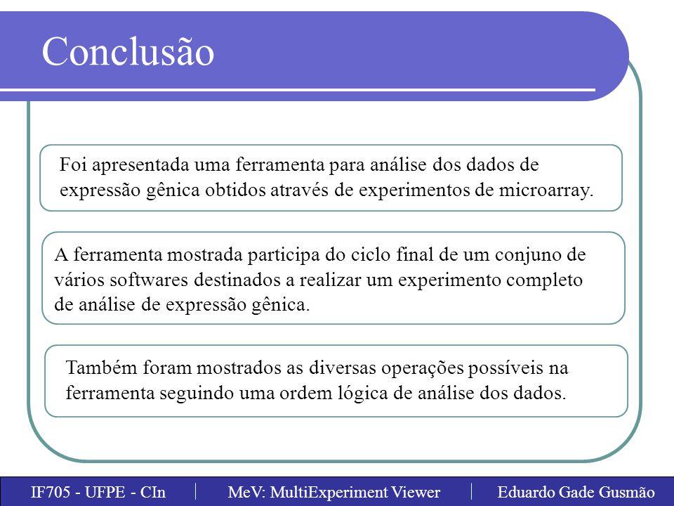 Conclusão Foi apresentada uma ferramenta para análise dos dados de expressão gênica obtidos através de experimentos de microarray.