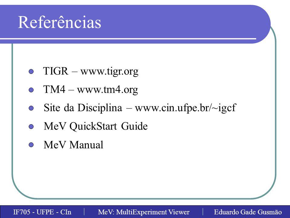 Referências TIGR – www.tigr.org TM4 – www.tm4.org