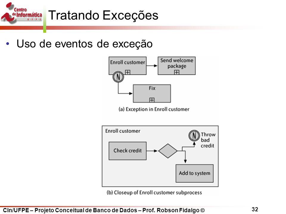 Tratando Exceções Uso de eventos de exceção