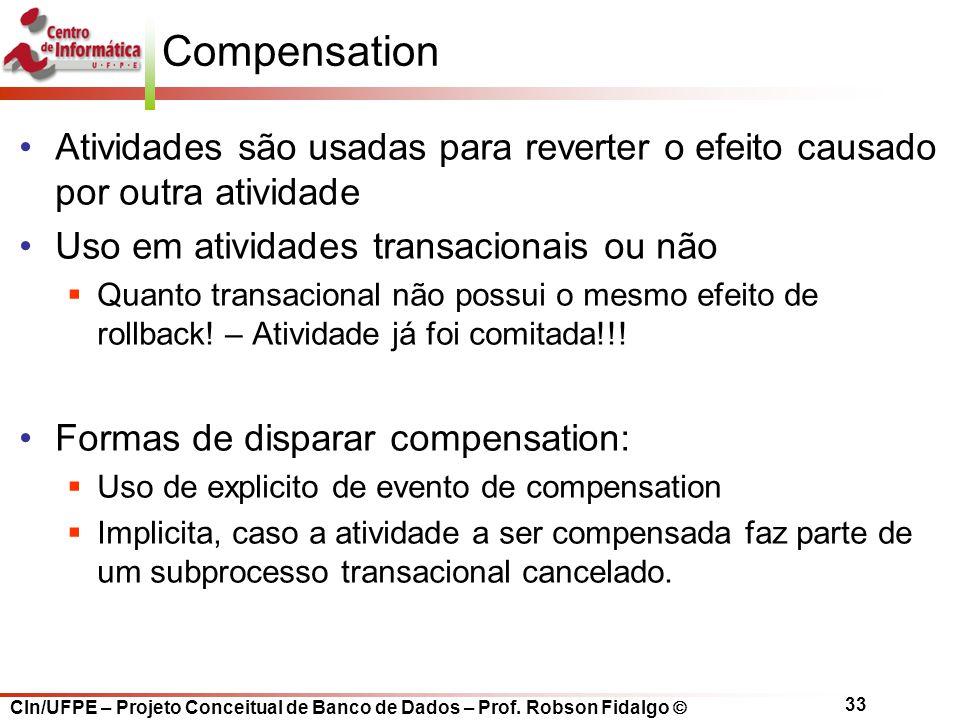 Compensation Atividades são usadas para reverter o efeito causado por outra atividade. Uso em atividades transacionais ou não.