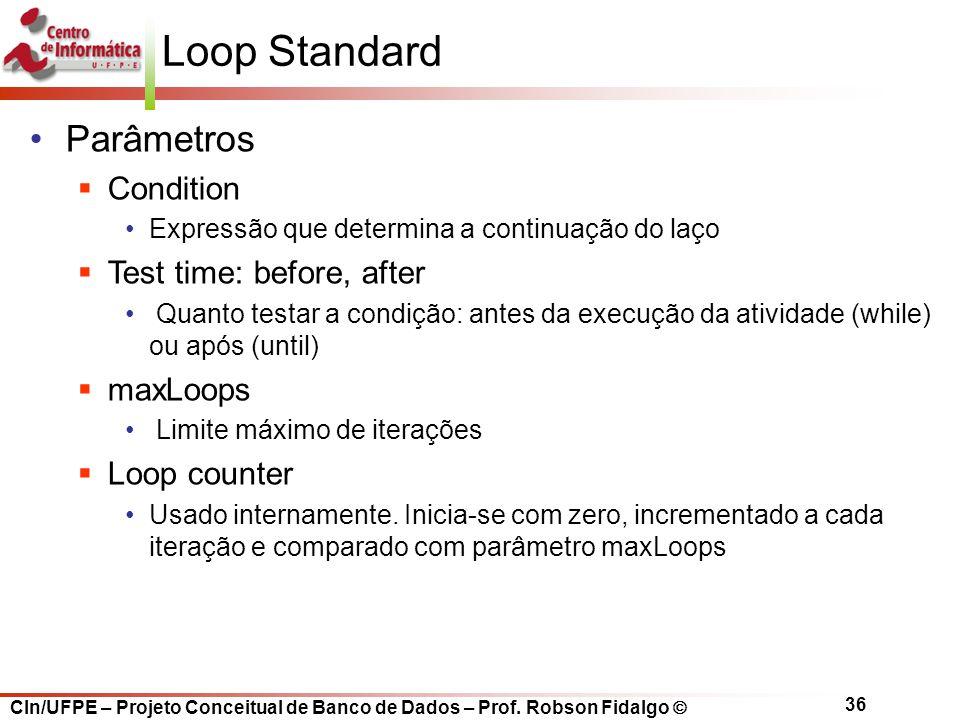 Loop Standard Parâmetros Uso em atividades transacionais ou não