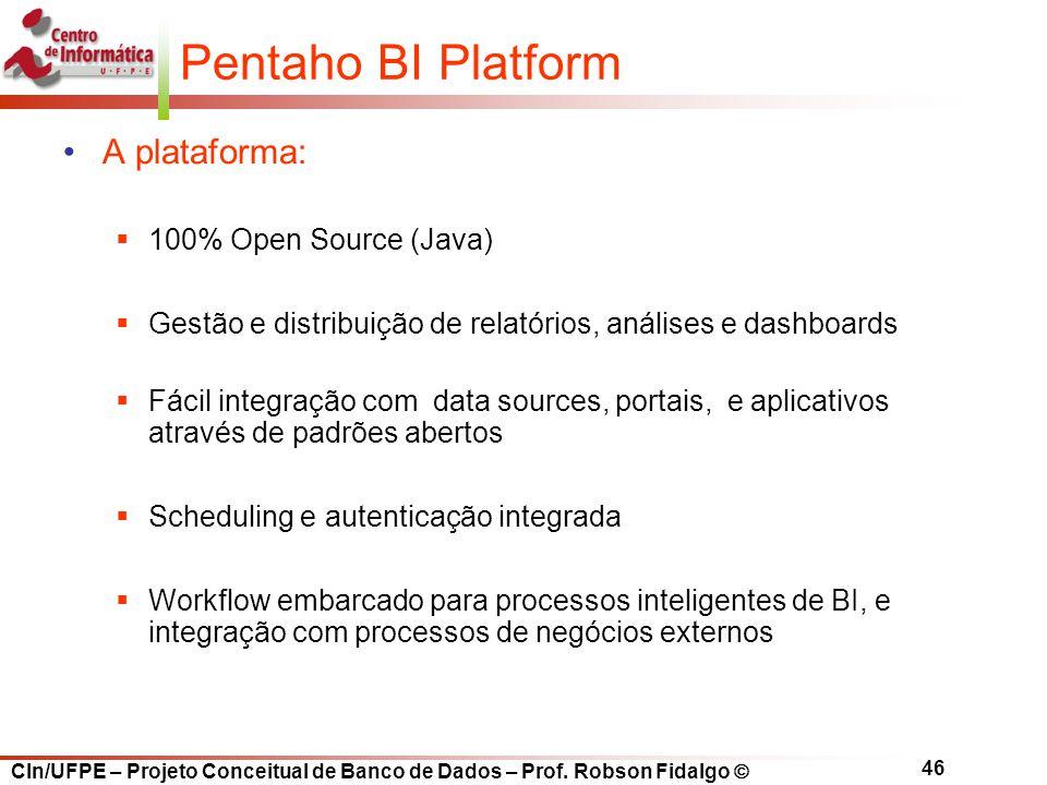 Pentaho BI Platform A plataforma: 100% Open Source (Java)
