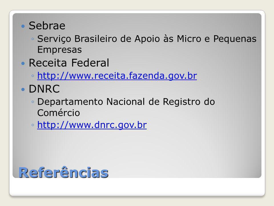Referências Sebrae Receita Federal DNRC