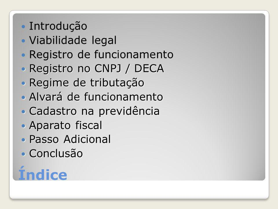 Índice Introdução Viabilidade legal Registro de funcionamento