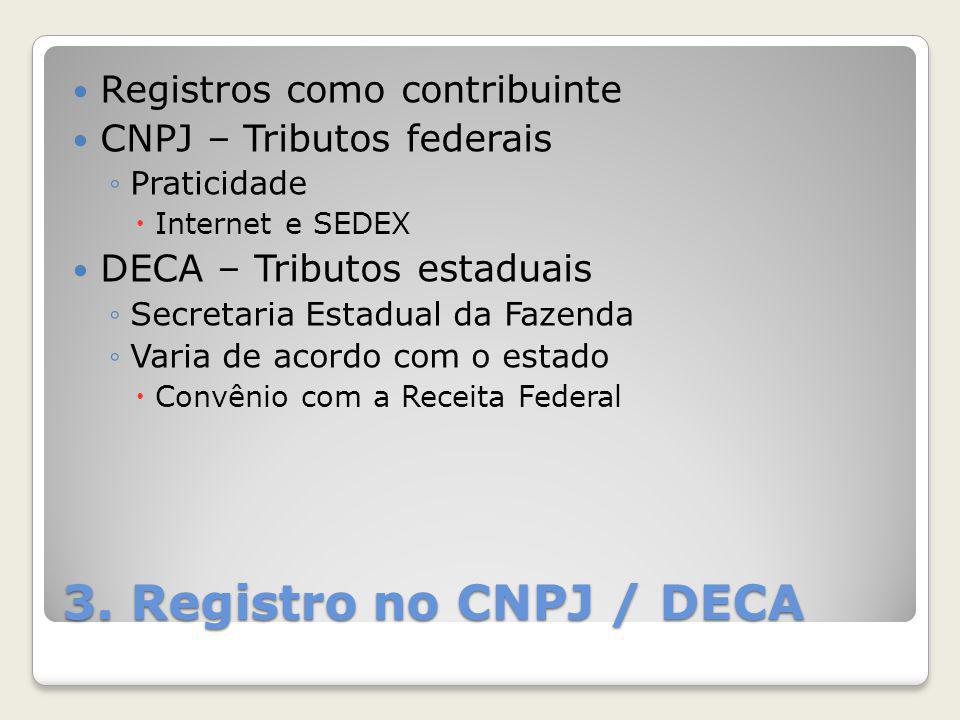 3. Registro no CNPJ / DECA Registros como contribuinte
