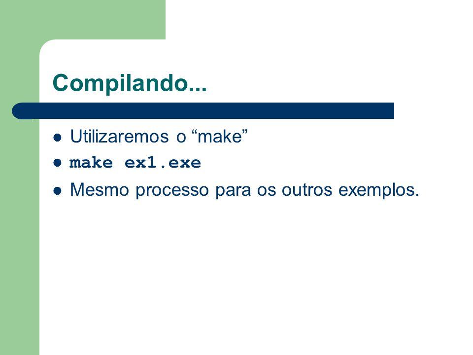Compilando... Utilizaremos o make make ex1.exe