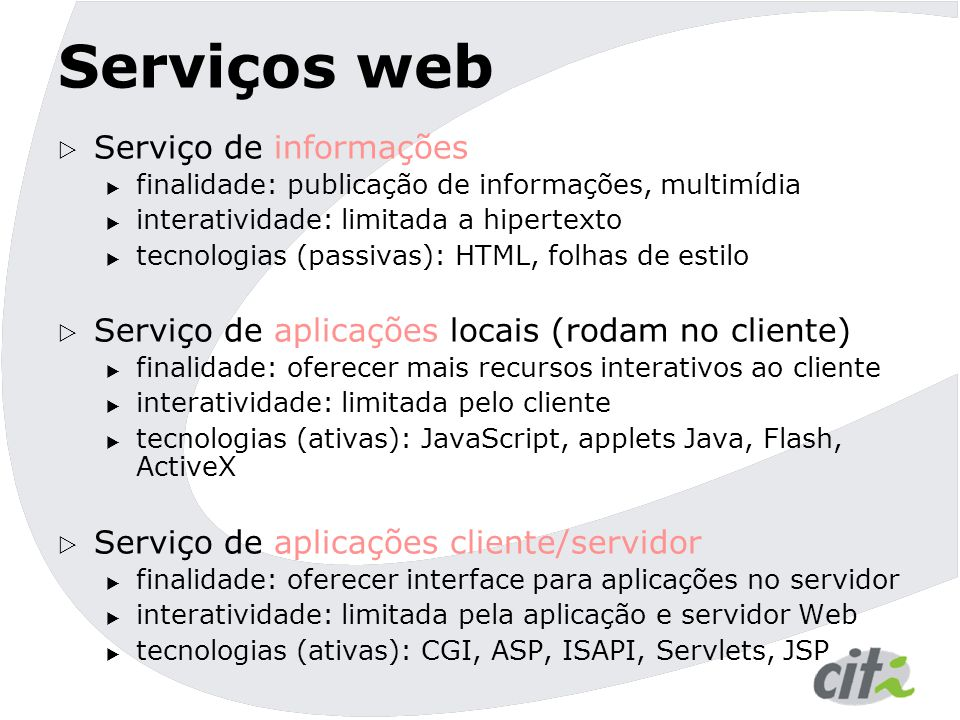 Serviços web Serviço de informações