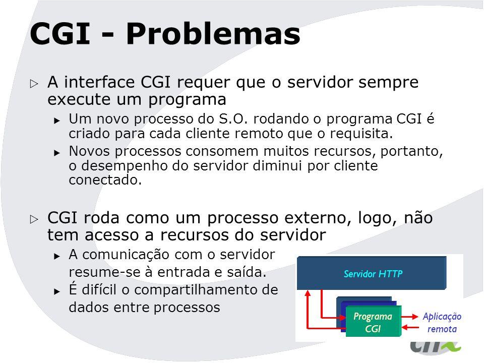 CGI - Problemas A interface CGI requer que o servidor sempre execute um programa.