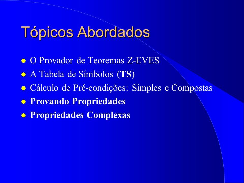 Tópicos Abordados O Provador de Teoremas Z-EVES