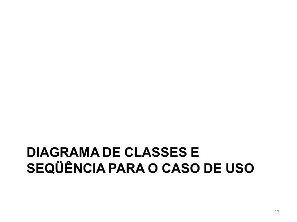 DIAGRAMA DE CLASSES E SEQÜÊNCIA PARA O CASO DE USO