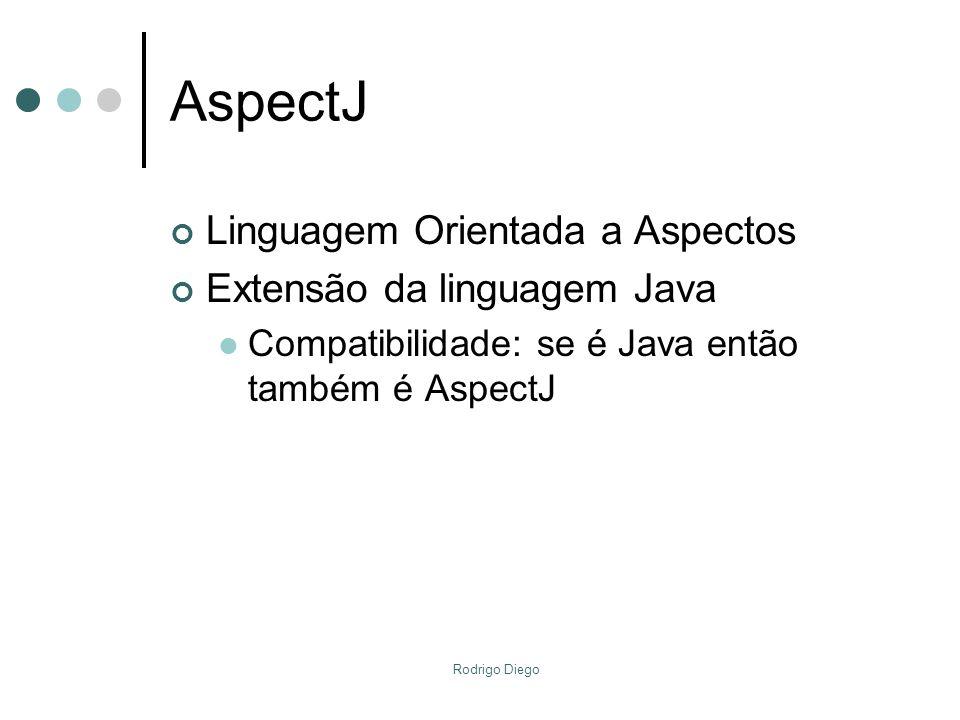 AspectJ Linguagem Orientada a Aspectos Extensão da linguagem Java