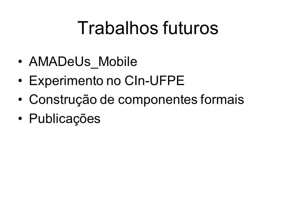 Trabalhos futuros AMADeUs_Mobile Experimento no CIn-UFPE