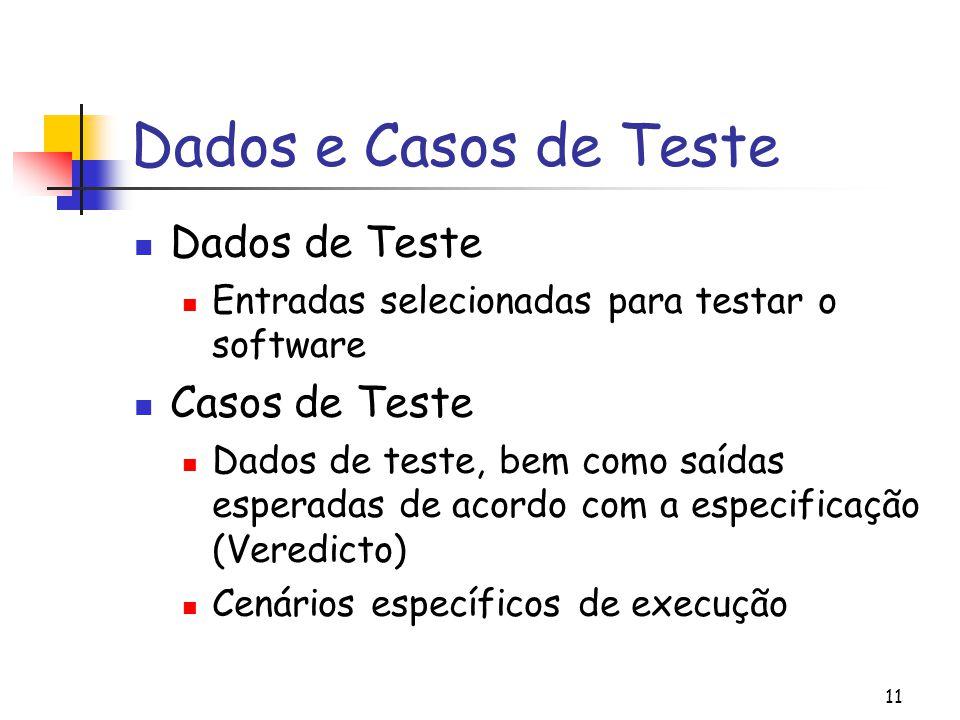 Dados e Casos de Teste Dados de Teste Casos de Teste