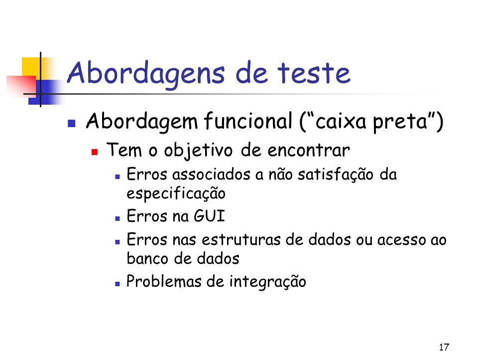 Abordagens de teste Abordagem funcional ( caixa preta )
