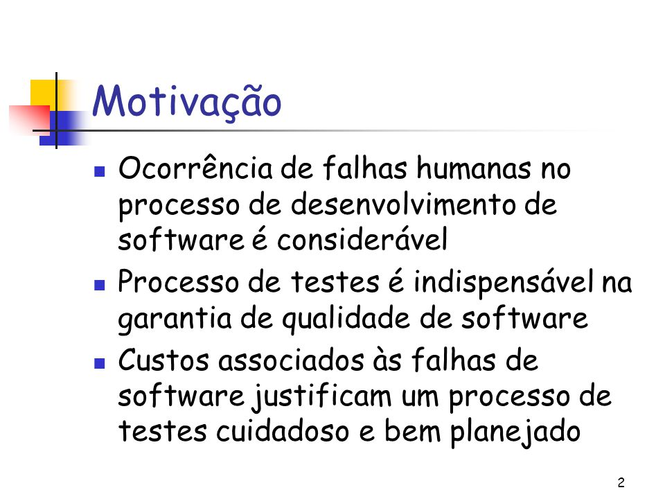 Motivação Ocorrência de falhas humanas no processo de desenvolvimento de software é considerável.