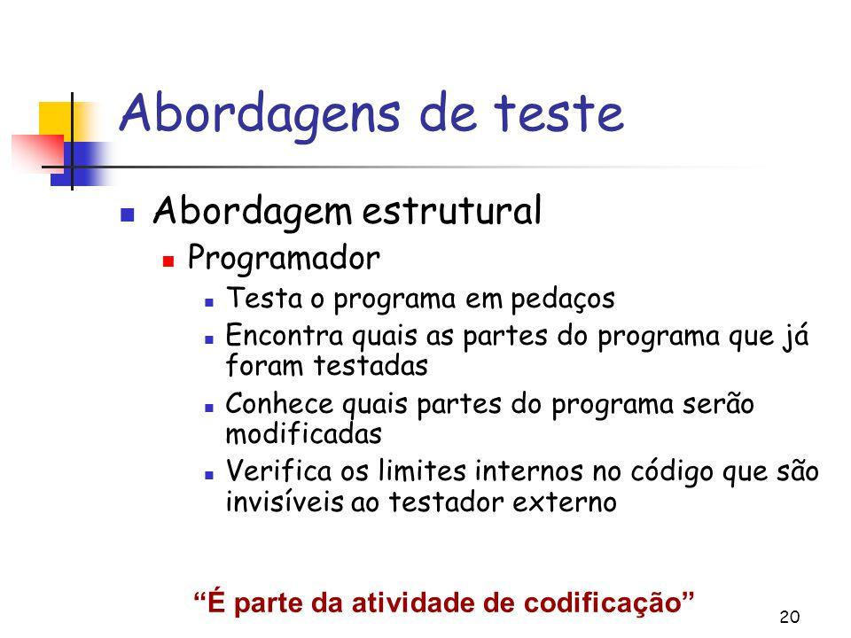 Abordagens de teste Abordagem estrutural Programador