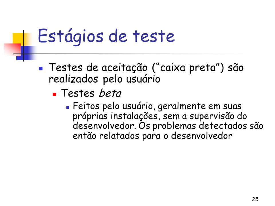 Estágios de teste Testes de aceitação ( caixa preta ) são realizados pelo usuário. Testes beta.