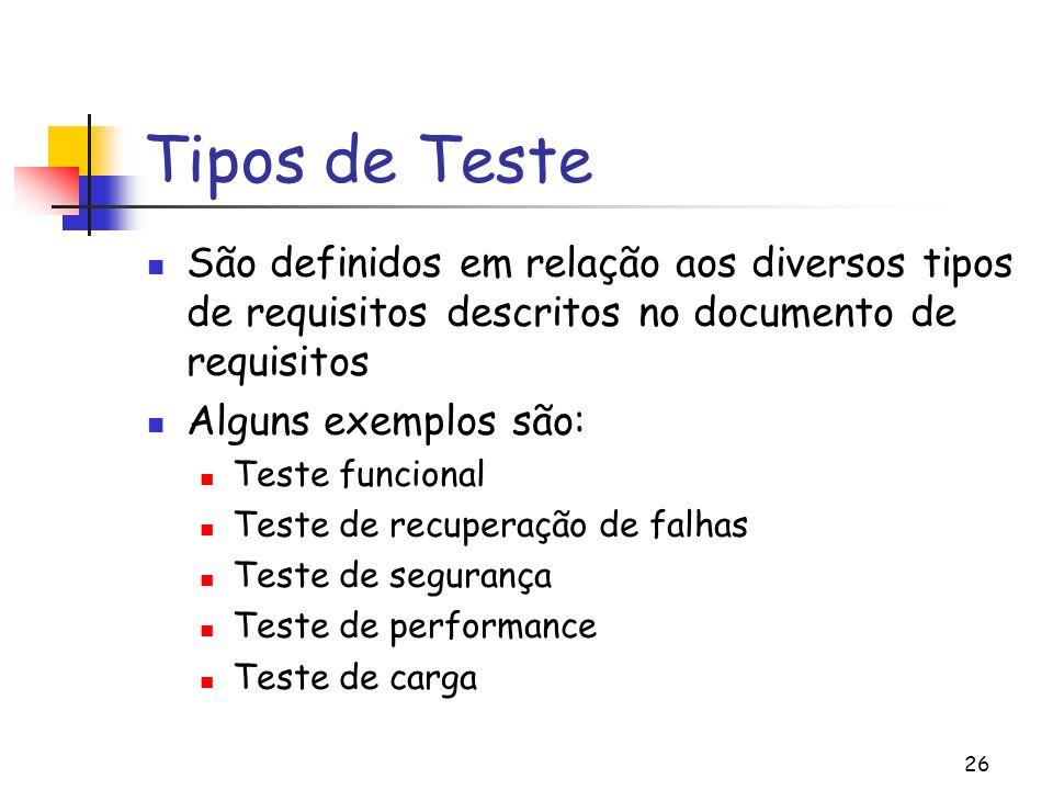Tipos de Teste São definidos em relação aos diversos tipos de requisitos descritos no documento de requisitos.