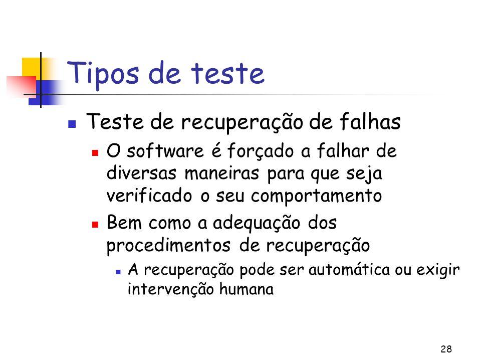 Tipos de teste Teste de recuperação de falhas