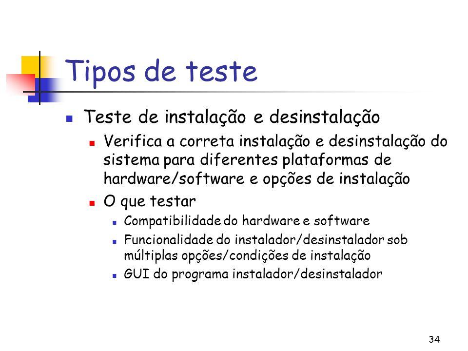 Tipos de teste Teste de instalação e desinstalação