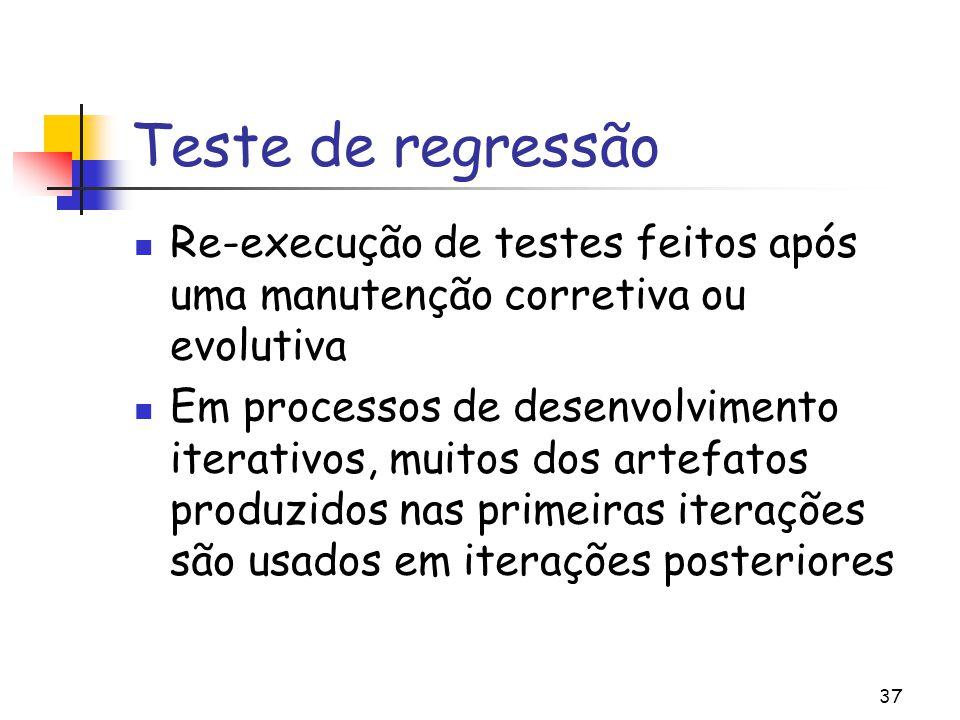 Teste de regressão Re-execução de testes feitos após uma manutenção corretiva ou evolutiva.