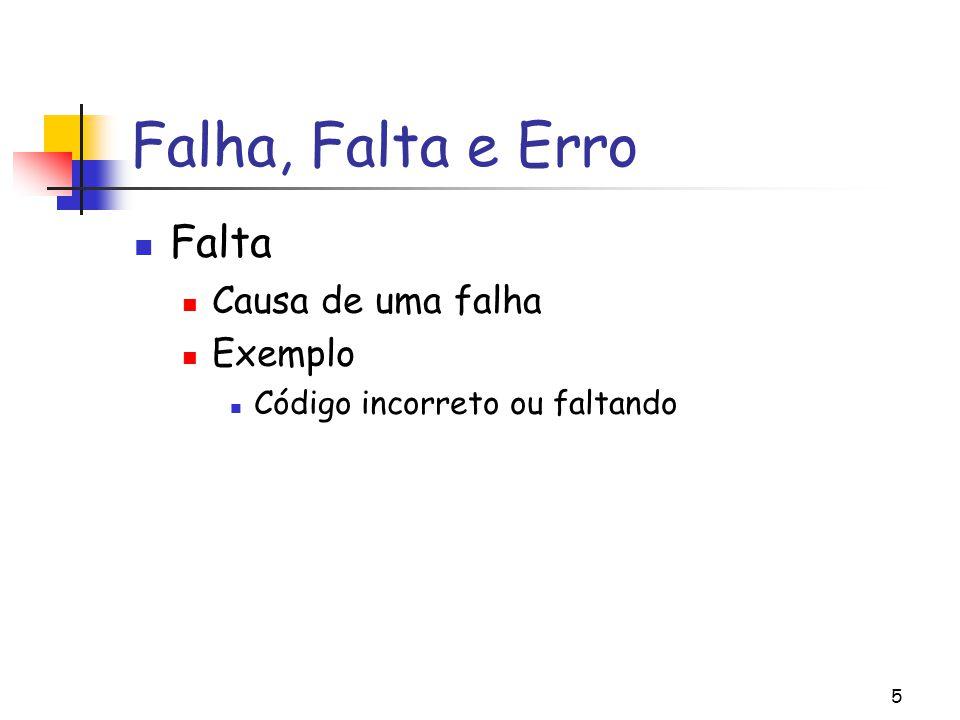 Falha, Falta e Erro Falta Causa de uma falha Exemplo