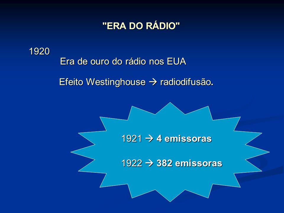 ERA DO RÁDIO 1920. Era de ouro do rádio nos EUA. Efeito Westinghouse  radiodifusão. 1921  4 emissoras.