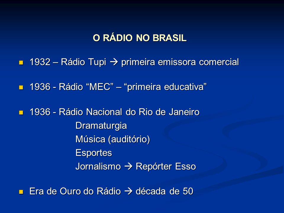 O RÁDIO NO BRASIL 1932 – Rádio Tupi  primeira emissora comercial. 1936 - Rádio MEC – primeira educativa