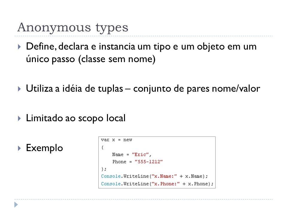 Anonymous types Define, declara e instancia um tipo e um objeto em um único passo (classe sem nome)