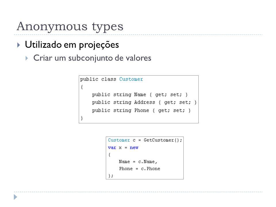 Anonymous types Utilizado em projeções Criar um subconjunto de valores