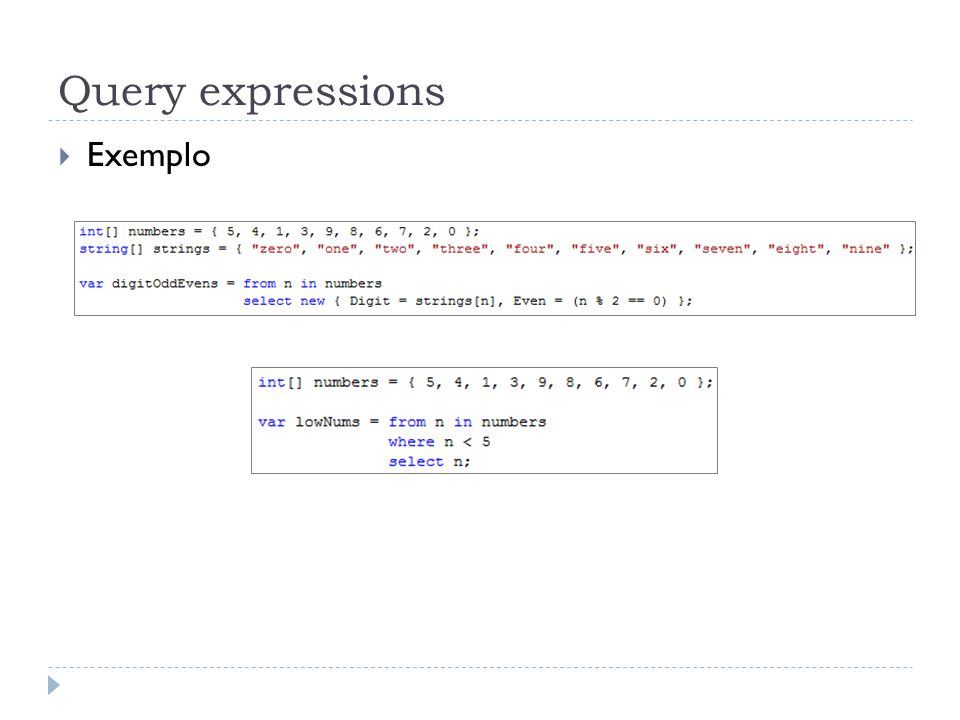 Query expressions Exemplo