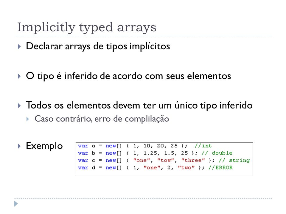 Implicitly typed arrays