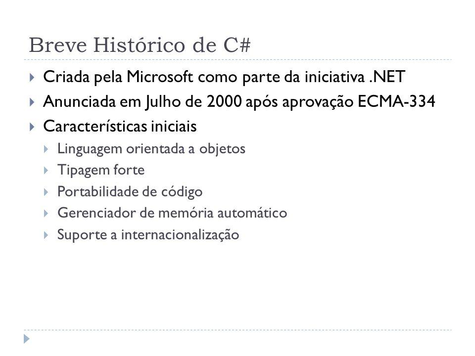 Breve Histórico de C# Criada pela Microsoft como parte da iniciativa .NET. Anunciada em Julho de 2000 após aprovação ECMA-334.