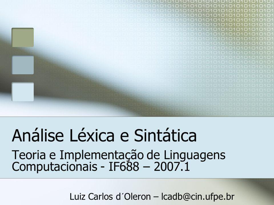 Análise Léxica e Sintática