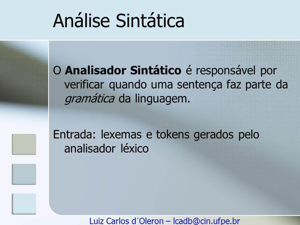 Análise Sintática O Analisador Sintático é responsável por verificar quando uma sentença faz parte da gramática da linguagem.