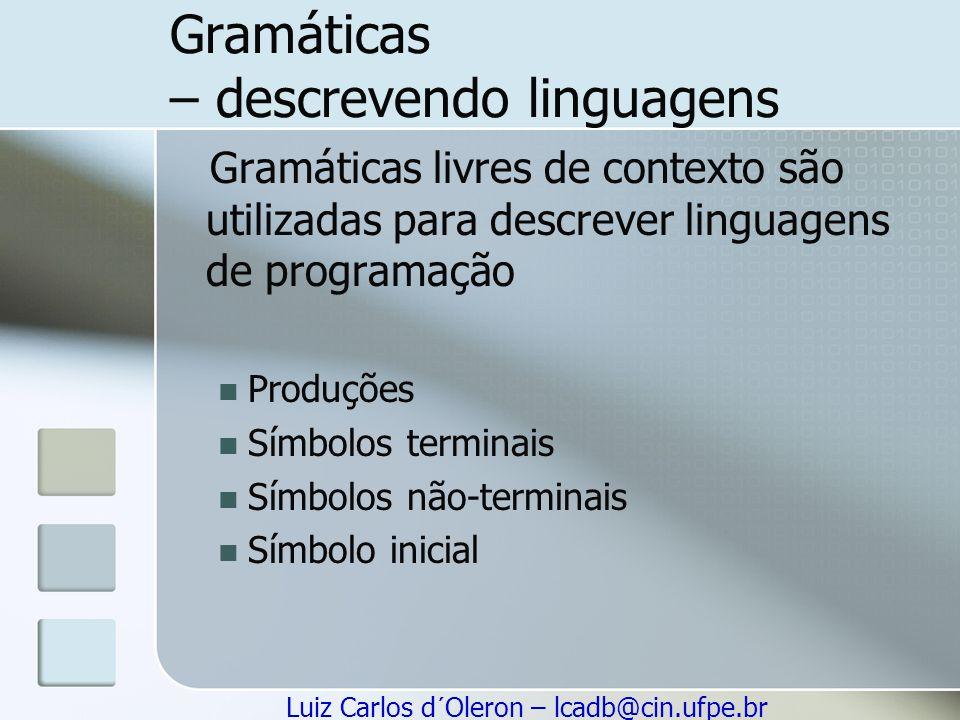 Gramáticas – descrevendo linguagens